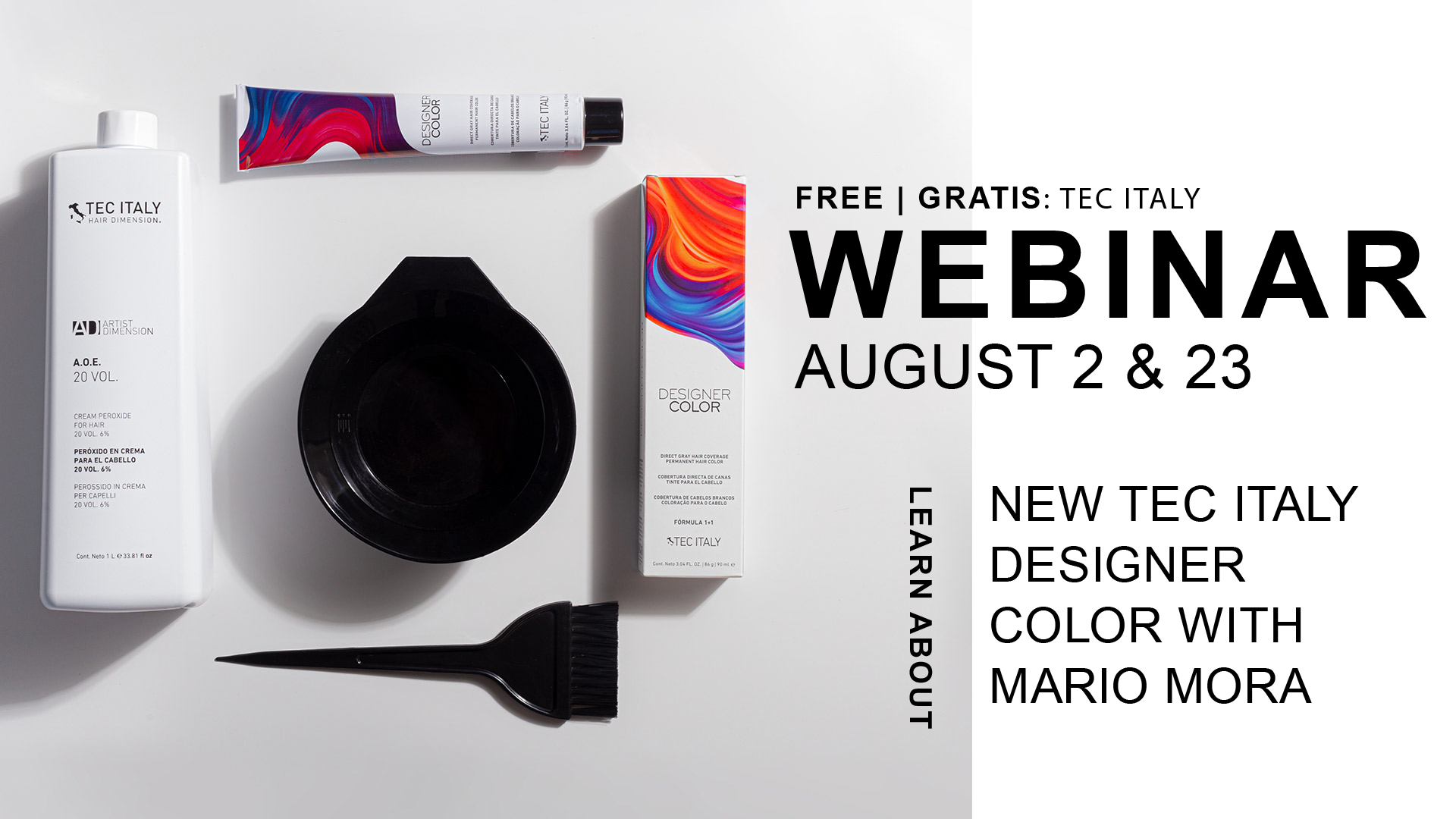 Photo of promo artwork showing the new Tec Italy Designer Color in a white box with a colorful red and blue splash at the top. The color box is next to the Tec Italy Developer, a mixing bowl, and a brush.